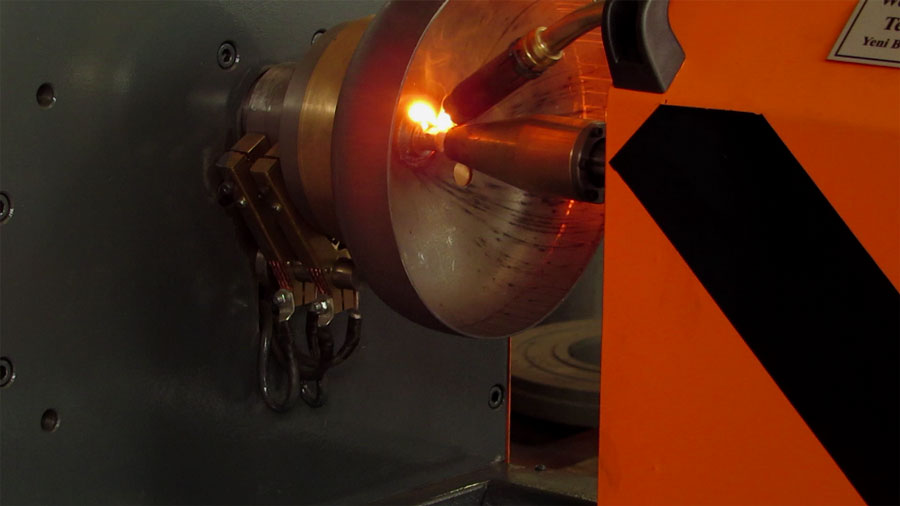 LPG Cylinder Automatic Welding Machine During Welding Operation